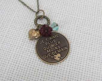 """I love you more than Yesterday, less than Tomorrow Necklace French Je""""taime"""
