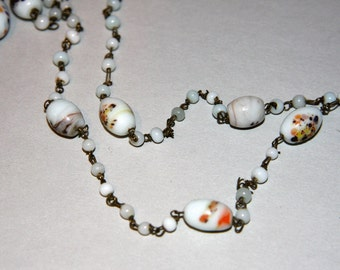 Antique  Long Flapper Necklace Art Deco Millefioni Spatter Glass Beads Hand Wired Necklace Repair Repurpose 60 inches long