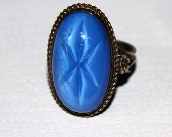 Vintage 1930s Deco Blue Glass Star Sapphire  Silver Ring Size *