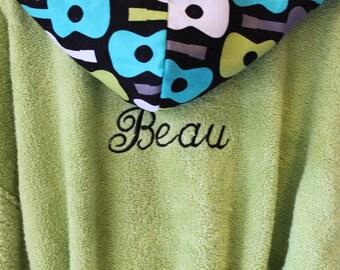 PERSONALIZED-Kids-Robes-Children-Boys-Boy-Bath-Robe-Guitars-Children's-Monogramed-Spa-Bathrobes-Sleepwear-Hooded-Terry-Swim-Beach-Cover-Up