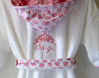 Childs Robe-PERSONALIZED-Tiara-Girls-Bath-Robe-Pink-Princess-Crowns-Sweet-Dreams-Swim-Pool-Sleepwear-Hooded-Terry-Beach-Cover-Baby&Kids-2-6
