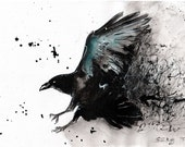 Ink drawing on canvas A4 - abstract turquoise raven flying