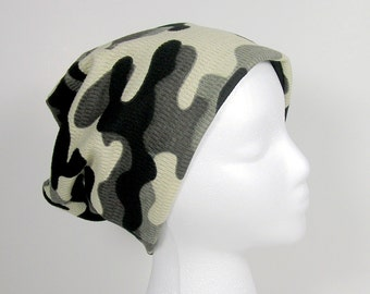 Camouflage Slouch Hat All Seasons Mens Beanie Mens Slouch Hat Army Chic Slouch Hat Grey and Black Camo Beanie Gray and Black Camouflage Hat