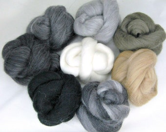 Neutrals Sampler, Merino Wool Combed Top - Black/Gray/White/Neutrals, Spinning, Felting, Crafts