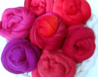 Choose your Color: 100 gm Fine Merino Combed Top for Spinning, Felting; Red and Pink Shades