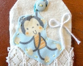 Monkey scrapbook tag fabric scrapbook embellishments card making supplies fabric monkey baby girl or baby boy scrapbook card zoo page 630