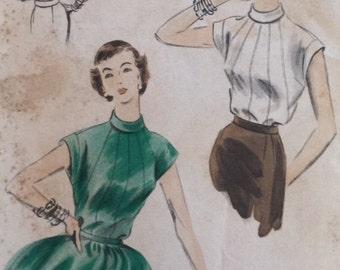Vintage 50s Geometric Seam Cap Sleeve Asian Inspired Vogue Sewing Pattern 7863 B32