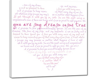 Gift For Her Heart Shaped Words or other shapes word art  Lyrics Collage on canvas or shape of moon,  16X16 Geezees