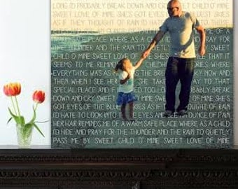 Geezees Gift for mom or Dad, Personalized Photo and Word art Gift Photo Gift on Canvas Words Text Quote Sayings 12x16