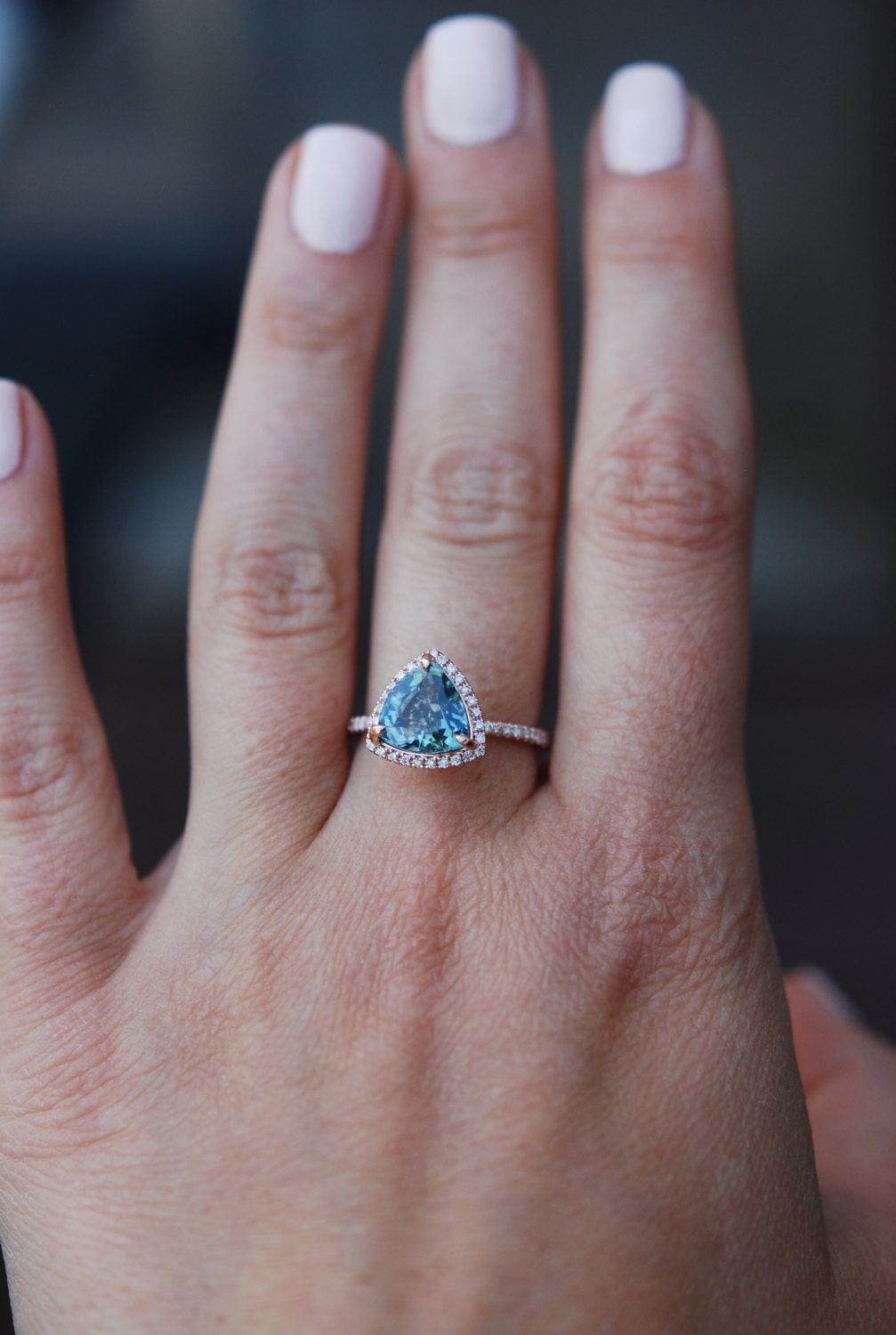 Rose Gold Engagement Ring 3ct Teal Blue Green By