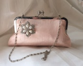 CLASSIC CLUTCH bridesmaid gifts with rhinestone brooch in blush silk Personalized Custom with Inscription your choice
