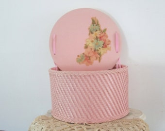 Woven Sewing Box Wicker Basket w/ Supplies Sewing Notion Box Floral Decal Shabby Chic Sewing Room Decor Art & Craft Organizer Caddy Storage