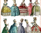 Series 1 Marie Antoinette Digital Set of 10 Paper Dolls, Clipart in .png format