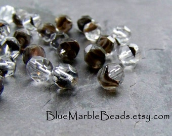 Glass Beads Loose-Glass Beads-Czech Glass Beads-Givre Beads-Brown Beads-Faceted Beads-50 Beads