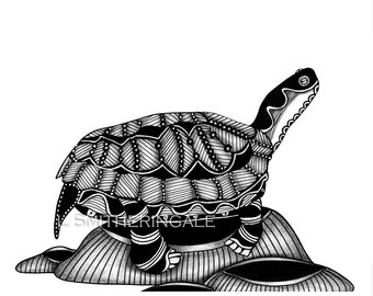 Zentangle-Inpired Turtle Print - Unmatted