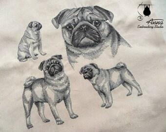 Pug Tote Bag. Dog Embroidered bag. Christmas gift. Canvas Tote Bag. Shopper bag. Eco Bag. Beach Bag. For pugs lovers. Pug Tote Bag