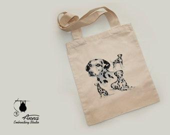 Dalmatian Tote Bag. Dog Embroidered bag. Christmas gift. Canvas Tote Bag. Shopper bag. Eco Bag. Beach Bag. Dog Tote Bag