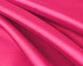 Satin fabric, fuchsia pink, hot pink, honeysuckle, sold by the yard, bridal satin, sewing supply, apparel, fashion material