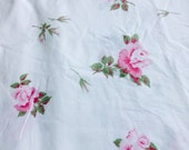 Vintage cotton sheet fabric - pink long stem roses white background - Shabby and Cottage Chic