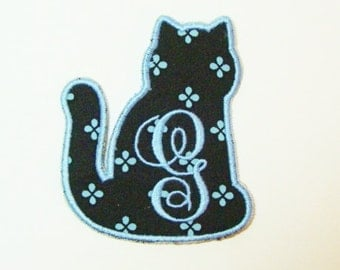 Monogram Cat Embroidered Applique DIY Patch-100202