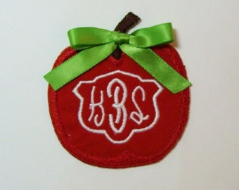 Monogram Red Apple Embroidered Applique DIY Patch -100214