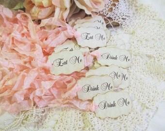Drink Me or Eat Me or Take Me Tags Alice Party Favor- Script Font -Set of 18-Choose Ribbon Color- Baby Bridal Shower Tea Party Wedding Favor