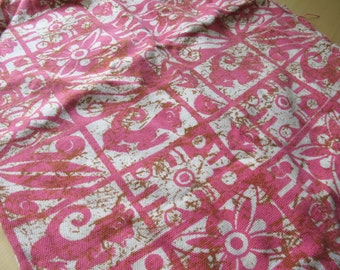 Vintage 60s Pink Cat Aztec Print Scrap Fabric or Upcycle Skirt