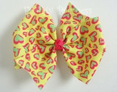 Neon Leopard Bow - Leopards in Love Pinwheel - No Slip Velvet Grip Hair Clip