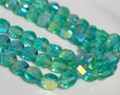 Fresh Green AB 8mm Faceted Fire Polish Coin Beads  25