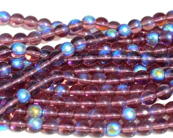 Deep Amethyst AB 6mm round Czech Glass Beads  50