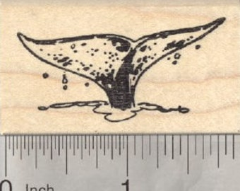 Whale Tail Rubber Stamp, Fluke, Marine Wildlife D28413 Wood Mounted