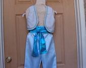 Aladdin Costume with blue satin pants, silverish tan vest with aqua trim and lame sash  OOAK Childrens size 6