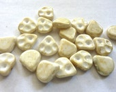 Vintage Light Stone Picasso 14x12mm Glass Drop Beads (10)