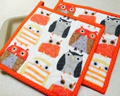 Owl Potholders, Quilted Potholders, Fabric Potholders, Set of 2, Owl Hotpads, Pot Holder
