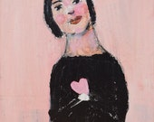 Acrylic Portrait Painting. Mixed Media Art. Girl & Pink Heart Painting. Valentine's Day Art. Romantic Gift for Her