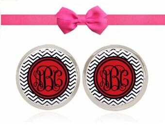Monogram Earrings, Chevron Earrings, Personalized Gift, Gift Under 10, Gift For Her (Red and Navy Skinny Chevron - Stud Earrings)