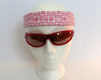 Adjustable Sweatband / Headband - Pink and White Butterflies