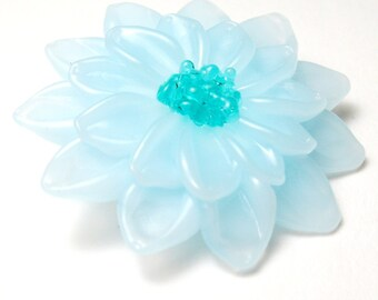 SKY BLUE DAHLIA Lampwork Glass Flower Pendant Focal Bead handmade sculptural jewelry supplies sra
