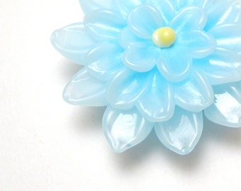 SKY BLUE DAHLIA Lampwork Glass Flower Focal Bead handmade sculptural jewelry supplies sra