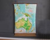 Large School Pull Down Map of Australia - 5.5 Feet tall