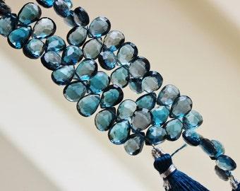 Outrageous London Blue Topaz Briolette Faceted Pear TearDrop 11.5mm 5 beads