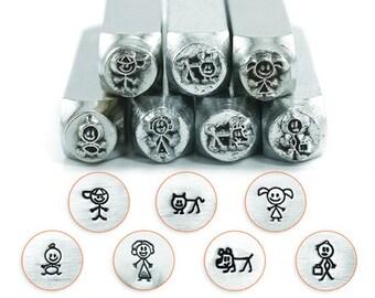 Stick Figure Family Set - 7 pc. Pack, SC15K-J-7PC, Carbon Steel Stamp, ImpressArt Stamp, Metal Working Stamps, Metal Design Stamps