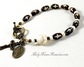 Miraculous Medal Rosary Bracelet with Crosses Hand Carved Bone St Benedict Dark Brown Single Decade Chaplet Ivory Color