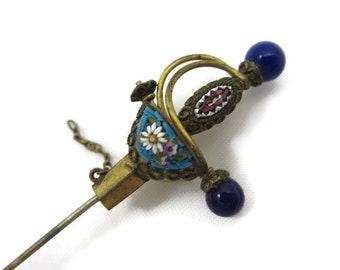 Micro Mosaic Brooch - Venetian Glass Sword Stick Pin