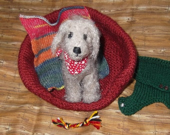 Miniature Knitted Fuzzy Dog Plus Accessories