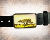 Belt Buckle - Tree - Leather Insert Belt Buckle