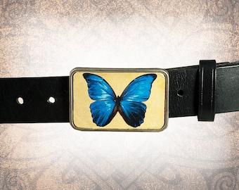 Belt Buckle - The Butterfly - Leather Insert Belt Buckle
