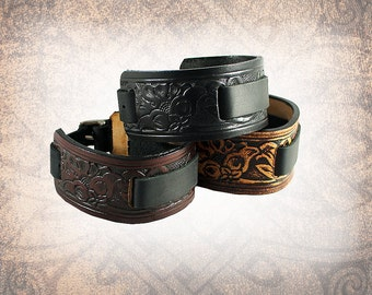 Western Floral - Leather Watch Cuff, Leather Watch Strap, Watch Cuff, Men's Watch Cuff, Women's Watch Cuff (1 Watch Cuff Only)
