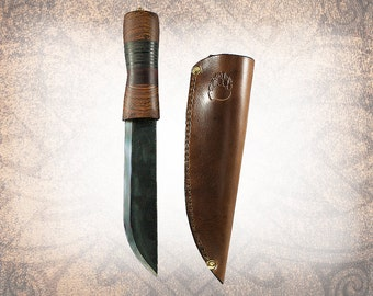 Asbjorn - Handmade Hunting Knife with Leather Sheath - Large