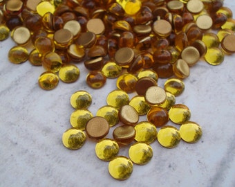 Preciosa 5mm Topaz Gold Czech Foiled Flat Back Round Glass Cabs or Stones (24 pieces)
